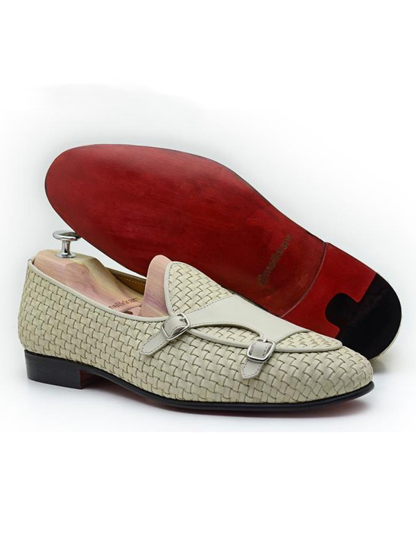 Ecru Handmade Calf Leather Bespoke Shoes by Gentwith.com with Free Shipping