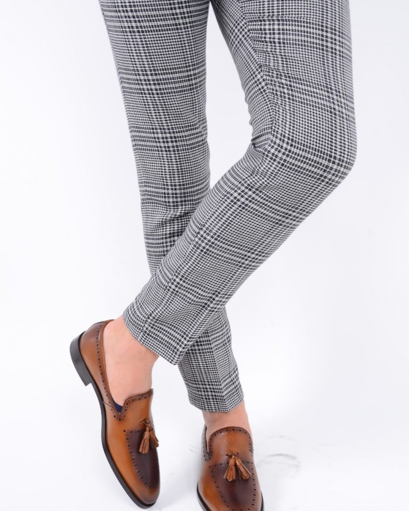 Gray Slim Fit Plaid Pants by Gentwith.com with Free Shipping