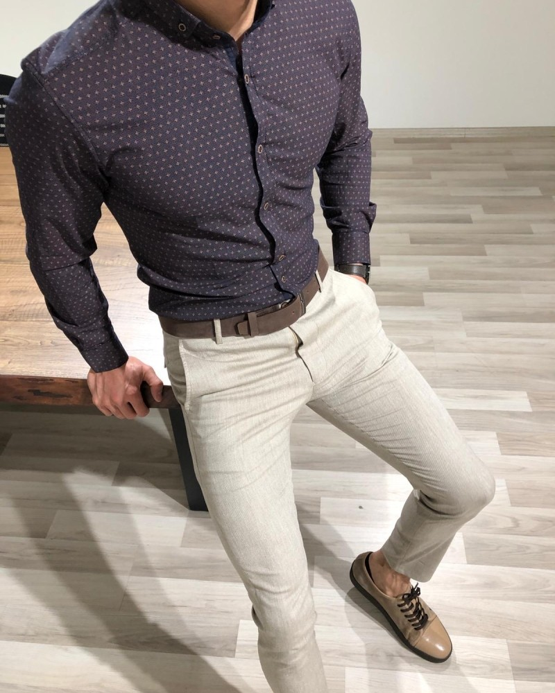 Brown Slim Fit Shirt by Gentwith.com with Free Shipping