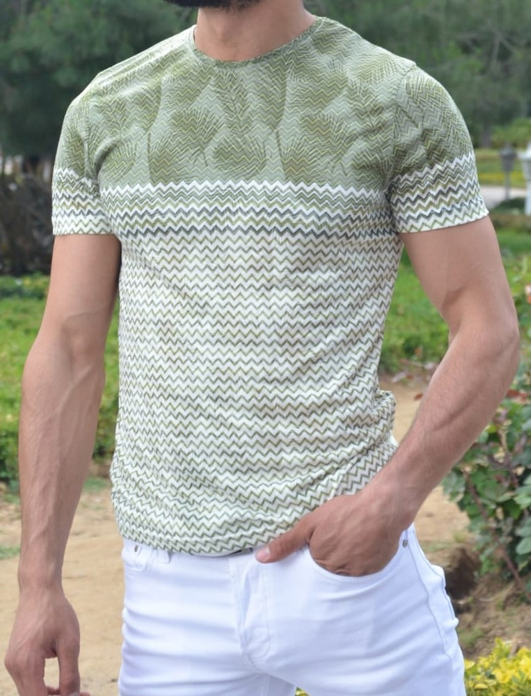 Green Slim Fit Patterned Tshirt by Gentwith.com with Free Shipping