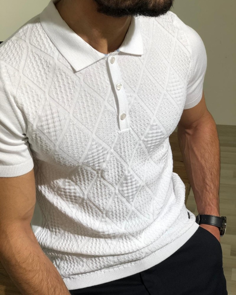 White Slim Fit Collar T-shirt by Gentwith.com