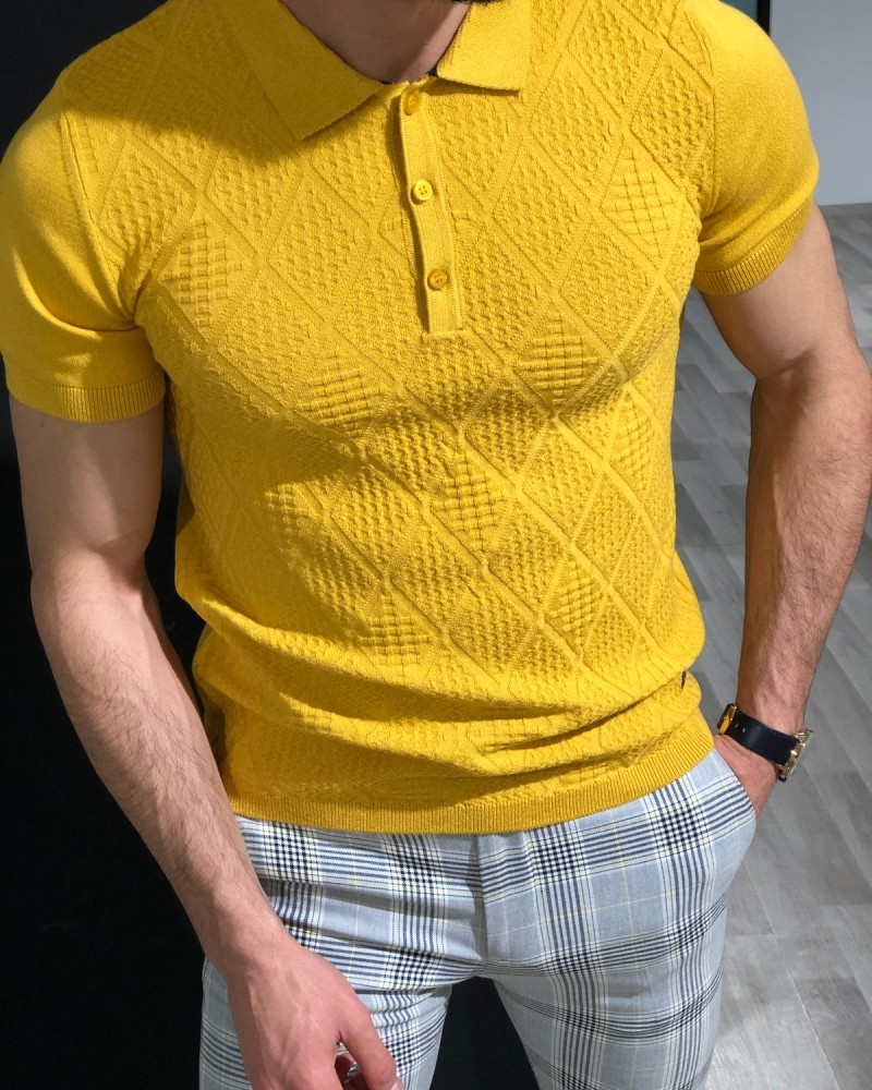 Yellow Slim Fit Collar T-shirt by Gentwith.com