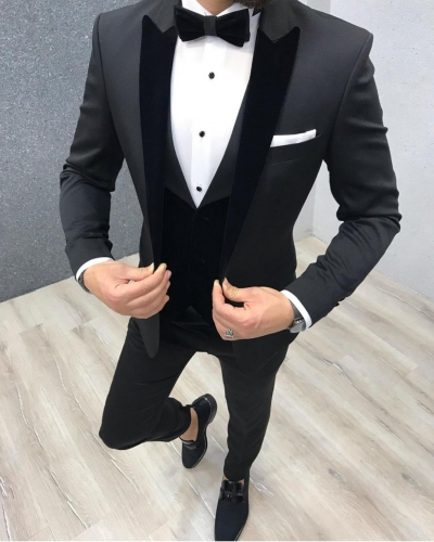 Black Slim Fit Velvet Collar Tuxedo by GentWith.com with Free Worldwide Shipping