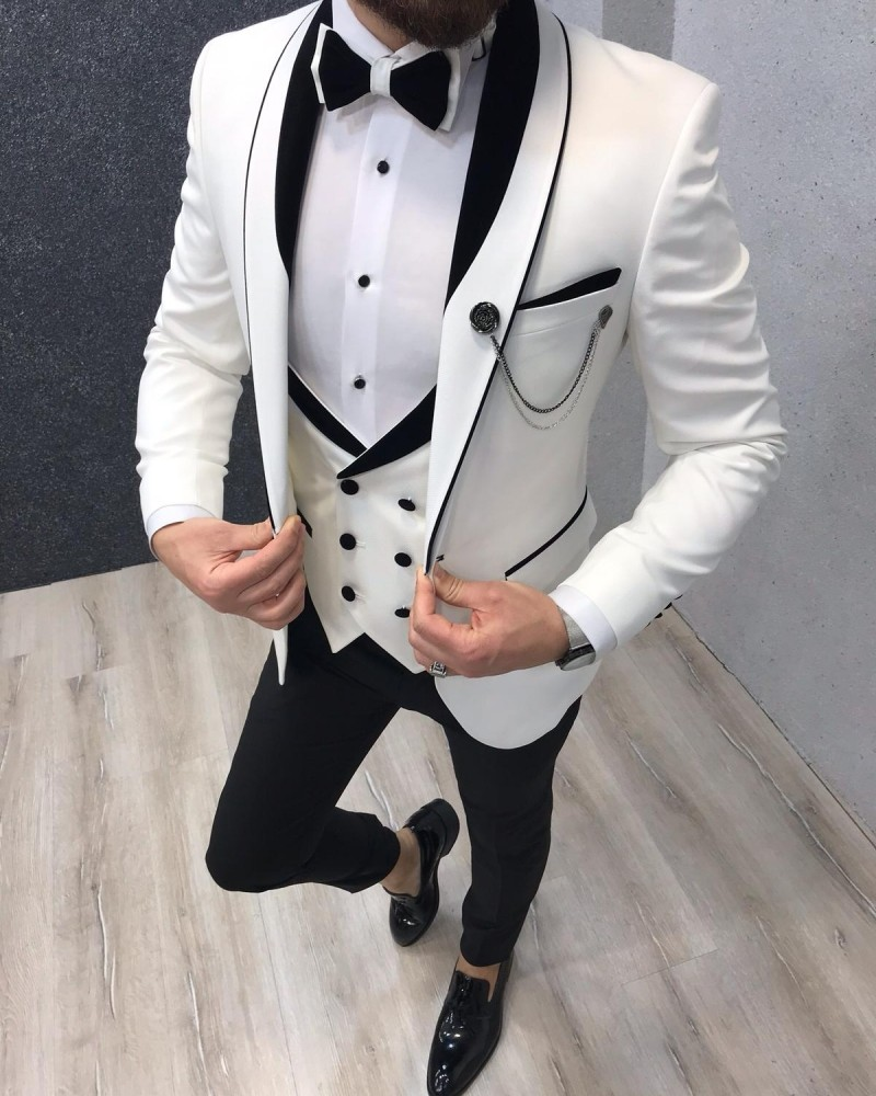 White Slim Fit Tuxedo by GentWith.com with Free Shipping