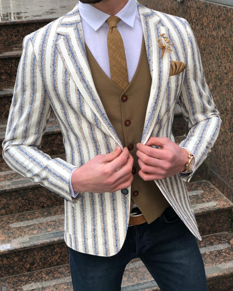 White Striped Blazer by Gentwith.com with Free Shipping