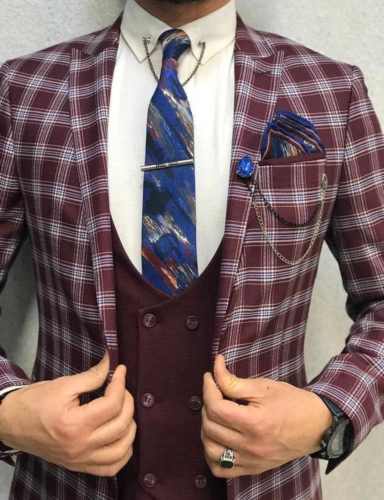 Claret Red Slim Fit Plaid Suit by Gentwith.com with Free Shipping