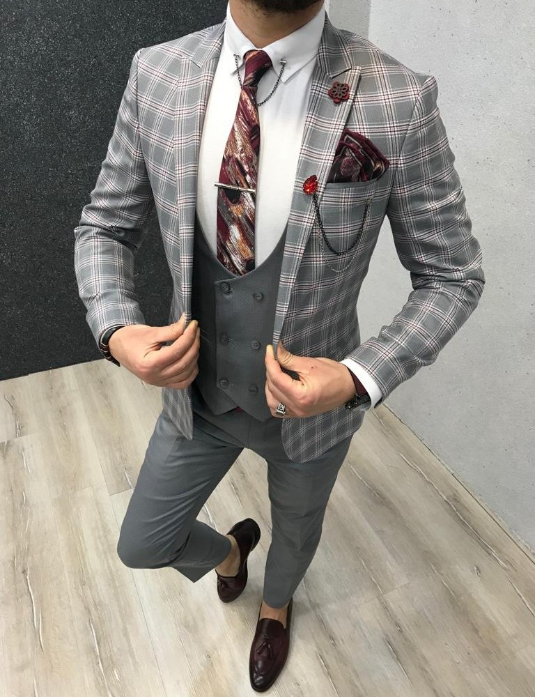 Gray Slim Fit Plaid Suit by Gentwith.com with Free Shipping