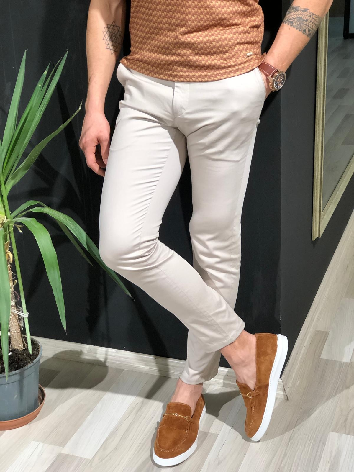 Stone Cotton Pants by Gentwith.com with Free Shipping
