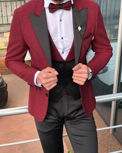 Slim Fit Claret Red Tuxedo by GentWith.com with Free Shipping