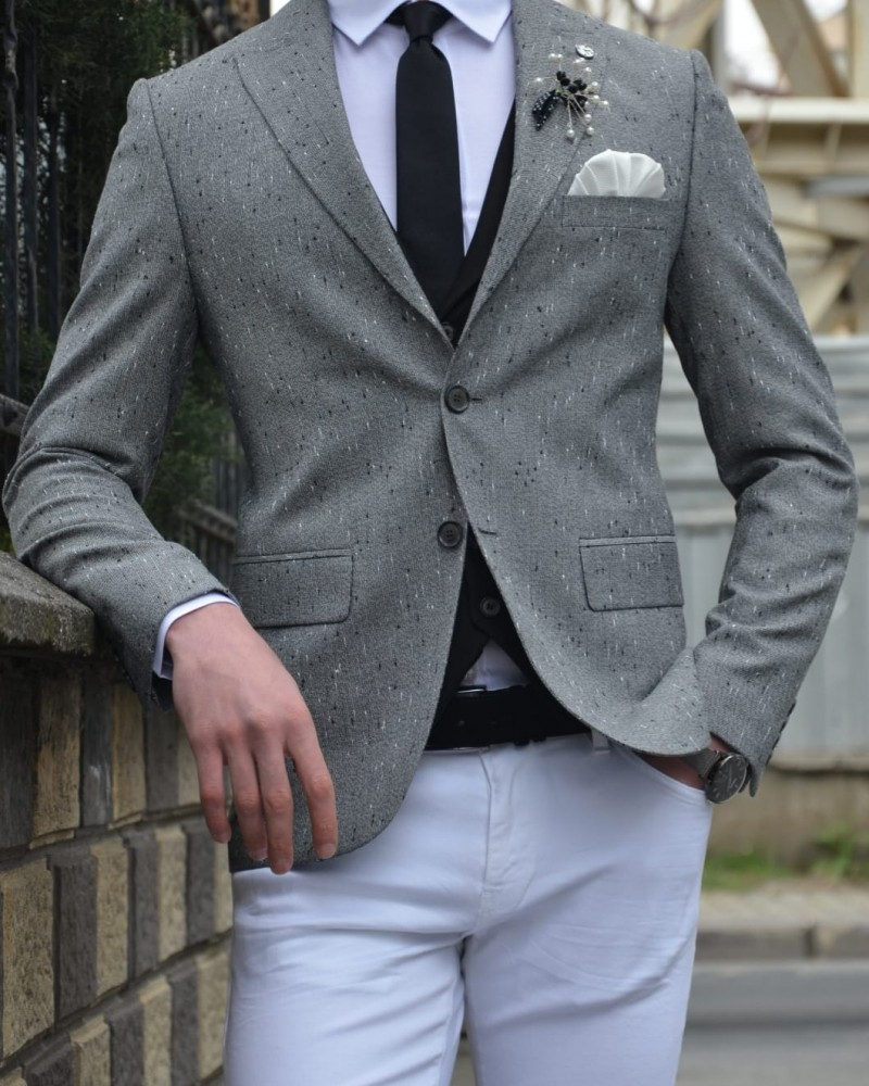 Gray Blazer by Gentwith.com with Free Shipping