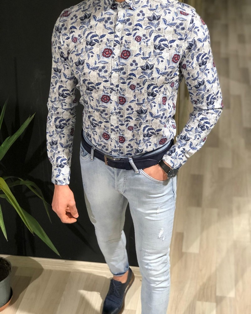White Slim Fit Floral Shirt by Gentwith.com with Free Shipping