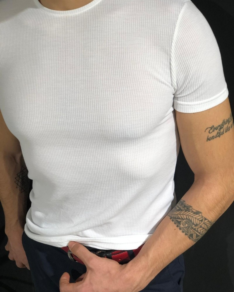 White Slim Fit Jacquard Tshirt by Gentwith.com with Free Shipping