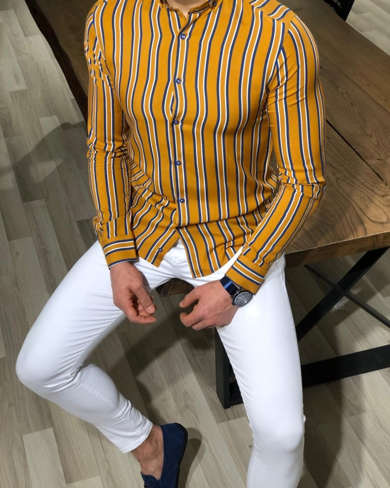 Mustard Slim Fit Striped Shirt by Gentwith.com with Free Shipping