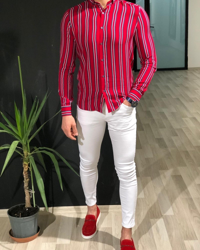 Red Slim Fit Striped Shirt by Gentwith.com with Free Shipping