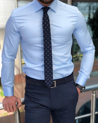 Slim Fit Blue Dress Shirt by GentWith.com with Free Shipping