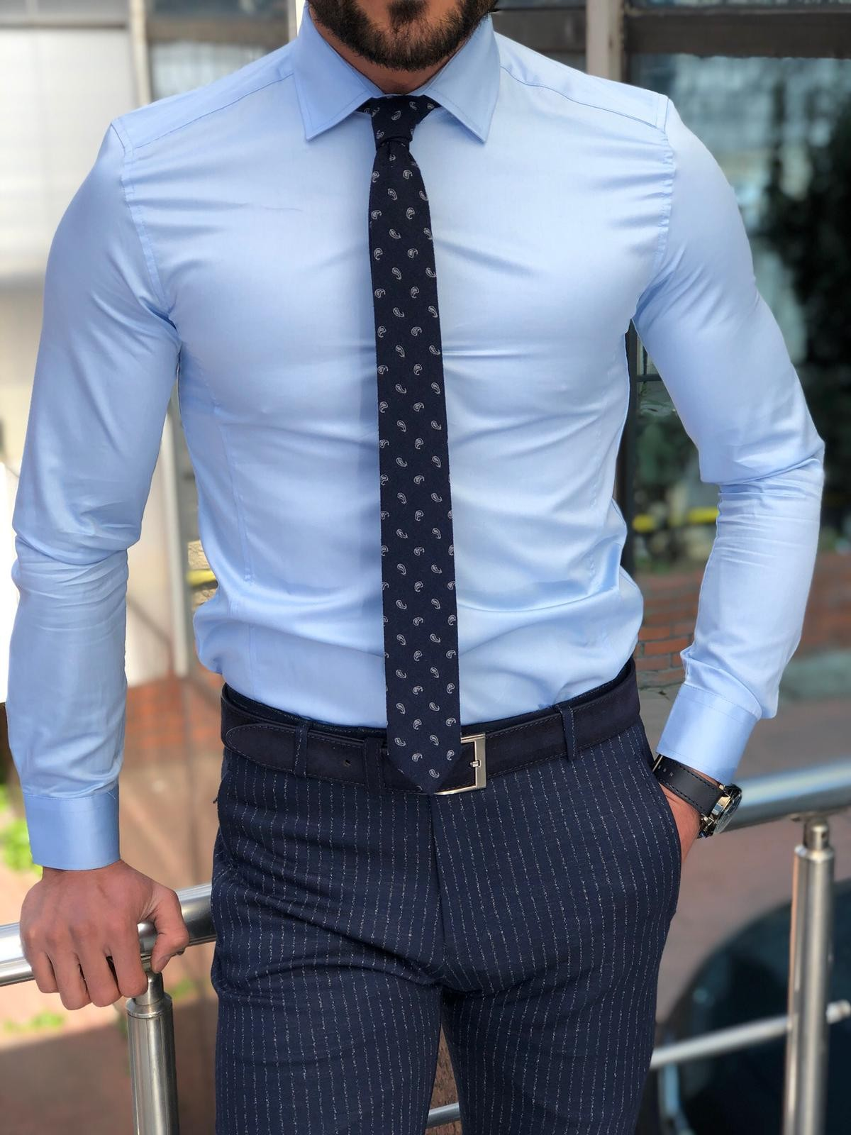 29bd4e87ccb41 Antonia Blue Slim Fit Dress Shirt
