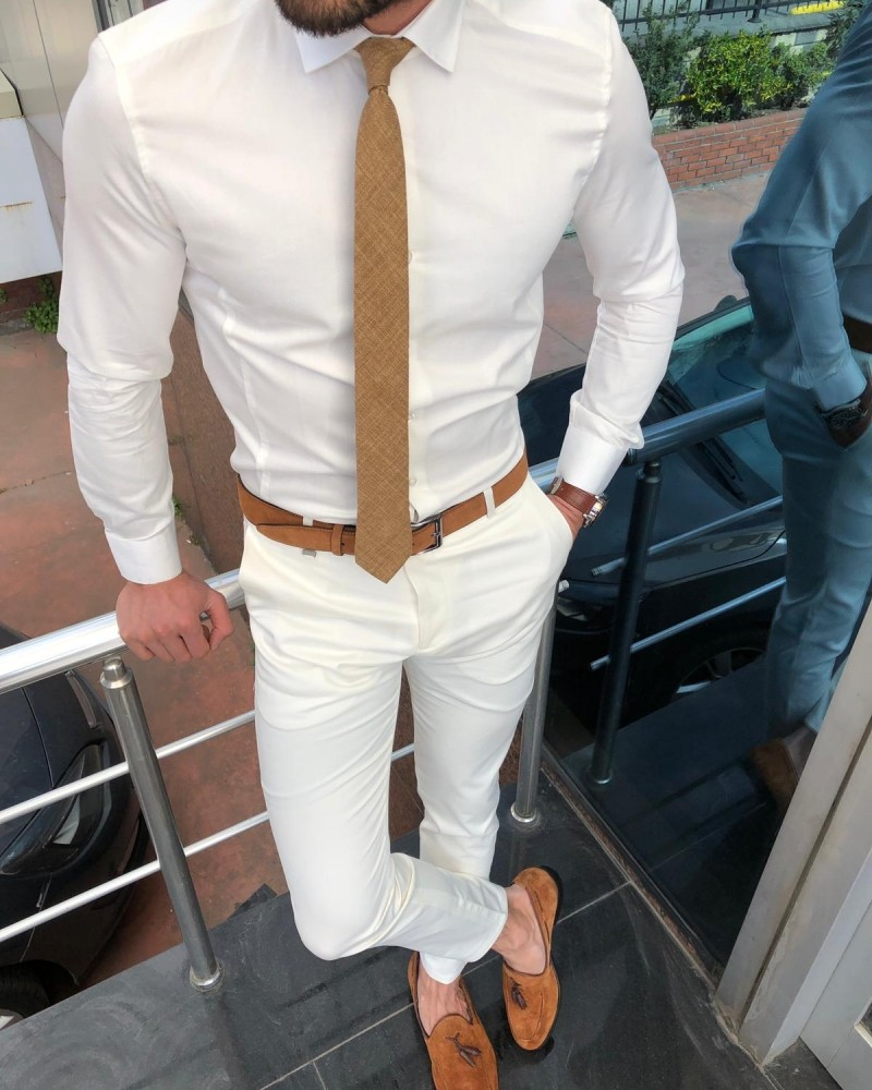 Ecru Slim Fit Dress Shirt by GentWith.com with Free Shipping