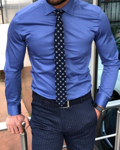 Slim Fit Indigo Dress Shirt by GentWith.com with Free Shipping