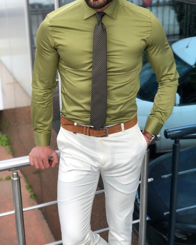 Khaki Slim Fit Cotton Shirt Men by Gentwith.com with Free Shipping