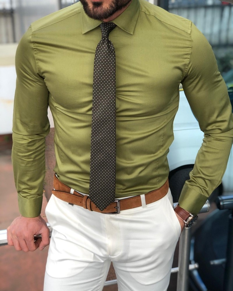 Khaki Slim Fit Cotton Shirt by Gentwith.com with Free Shipping