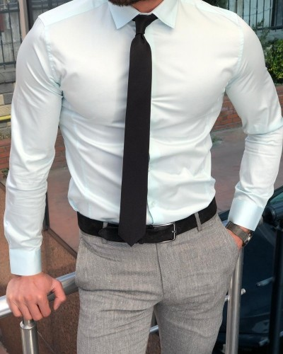 Mint Green Slim Fit Dress Shirt by GentWith.com with Free Shipping
