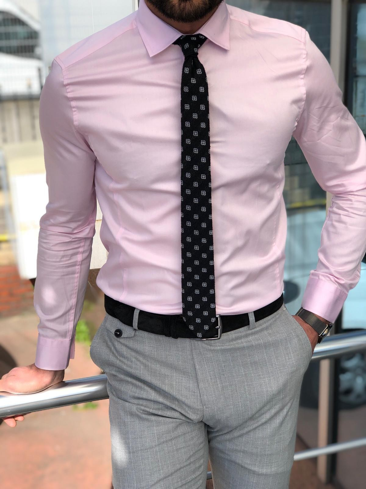 timeless design choose clearance shop for best Antonia Pink Slim Fit Dress Shirt