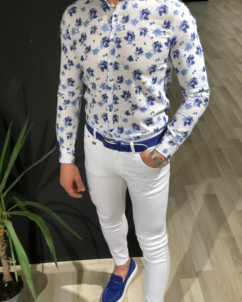 White Slim Fit Cotton Shirt by Gentwith.com with Free Shipping