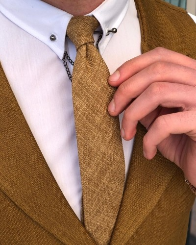 Camel Skinny Tie by GentWith.com with Free Shipping