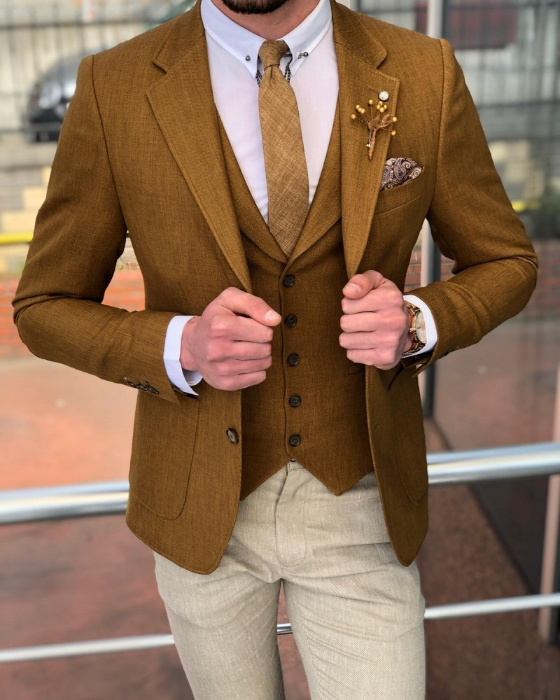 Camel Slim Fit Suit by GentWith.com with Free Shipping