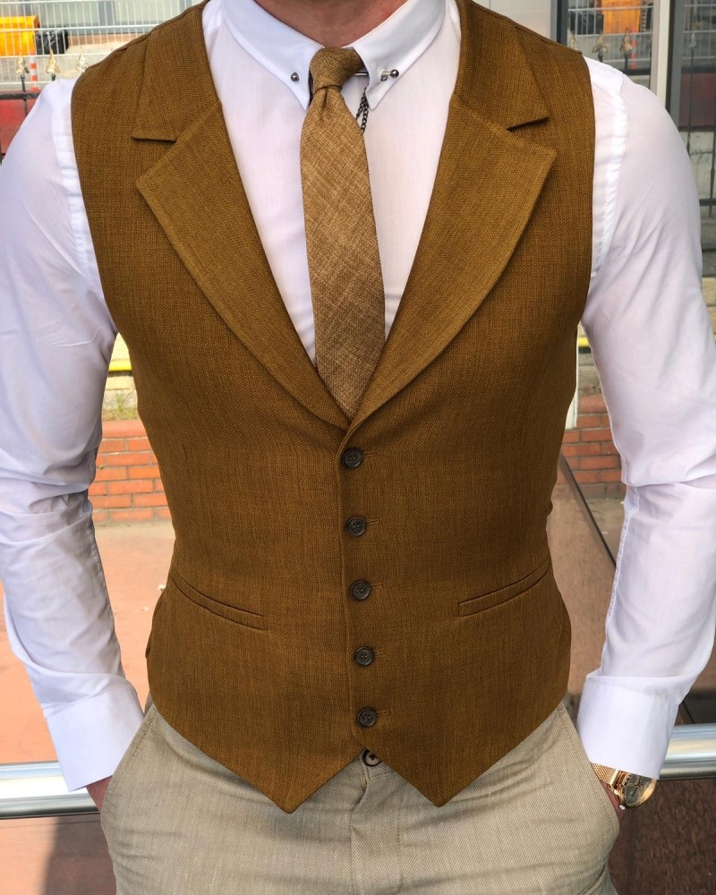 Camel Slim Fit Vest by Gentwith.com with Free Shipping