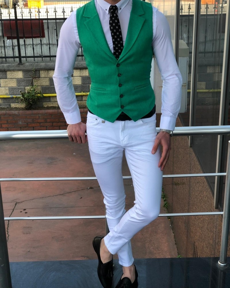 Green Slim Fit Vest by Gentwith.com with Free Shipping