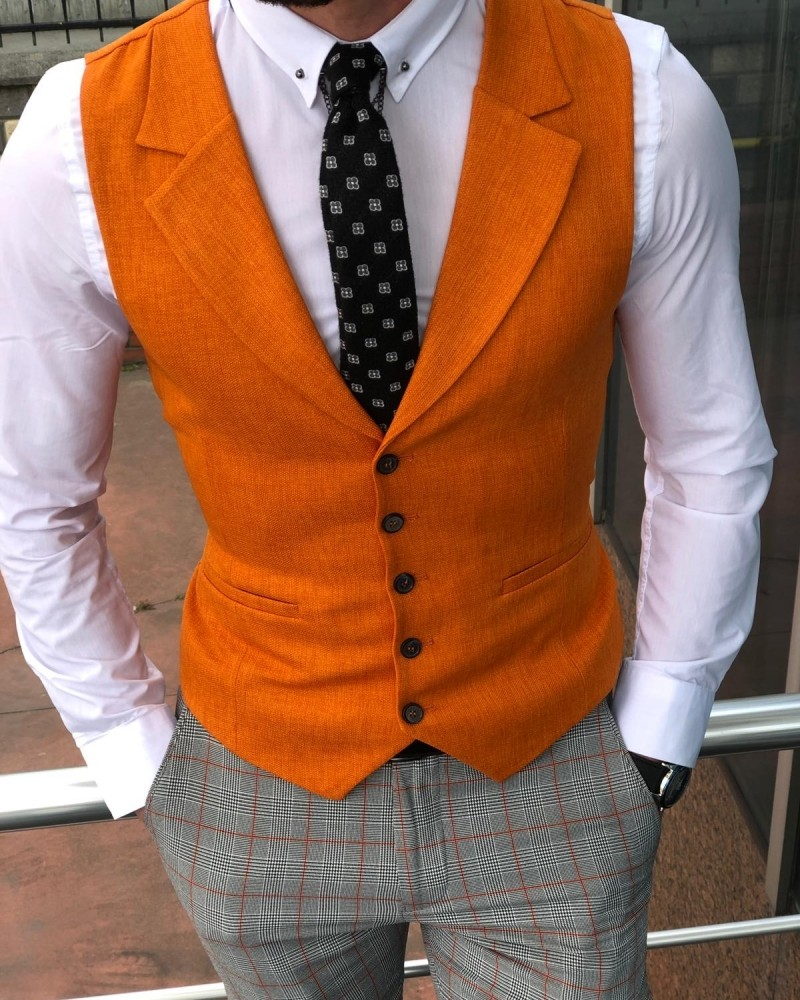 Orange Slim Fit Vest by Gentwith.com with Free Shipping