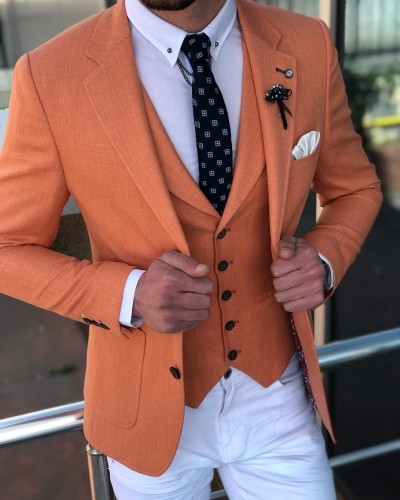 Peach Slim Fit Suit by GentWith.com with Free Shipping