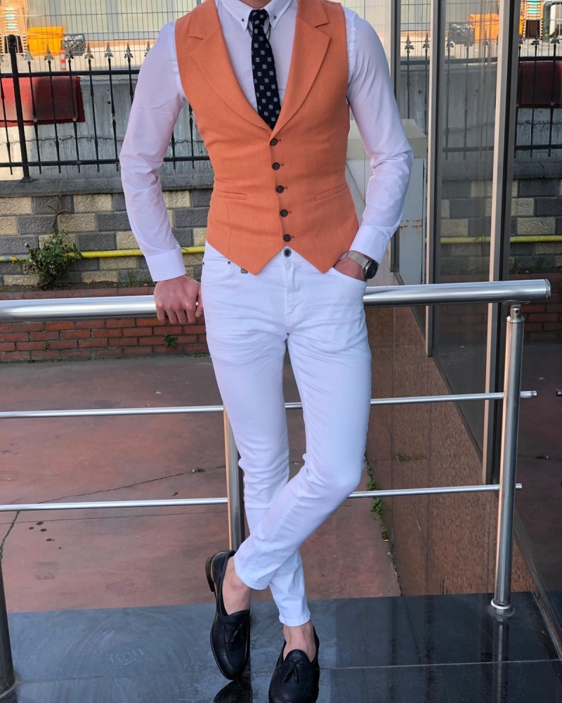 Peach Slim Fit Vest by Gentwith.com with Free Shipping