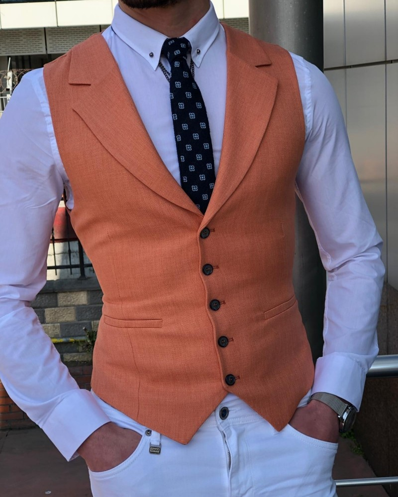 Peach Vest by Gentwith.com with Free Shipping