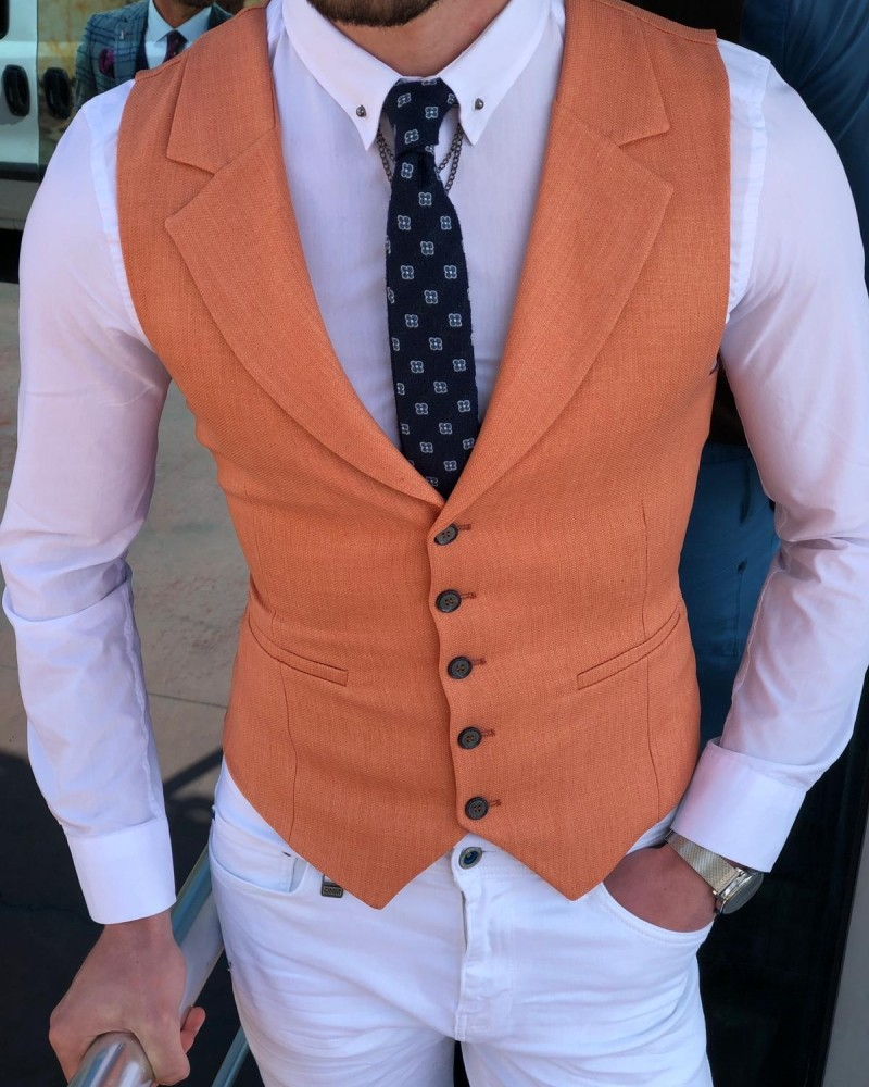 Peach Vest Men by Gentwith.com with Free Shipping
