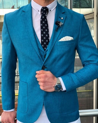 Turquoise Slim Fit Suit by GentWith.com with Free Shipping