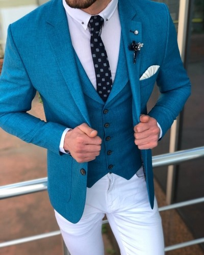 Turquoise Suit Men by GentWith.com with Free Shipping