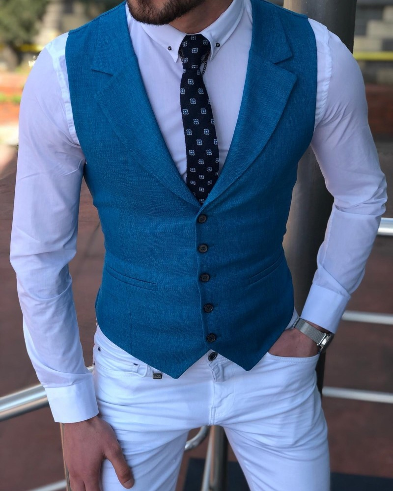 Turquoise Vest by Gentwith.com with Free Shipping