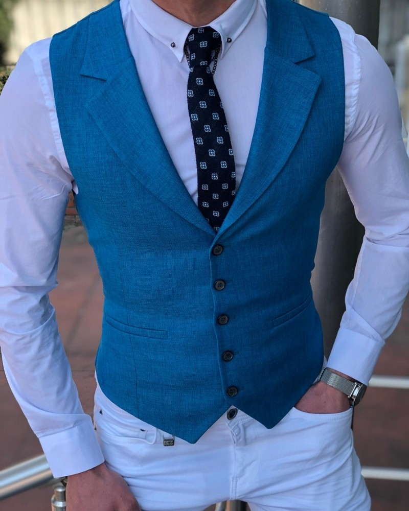 Turquoise Slim Fit Vest by Gentwith.com with Free Shipping