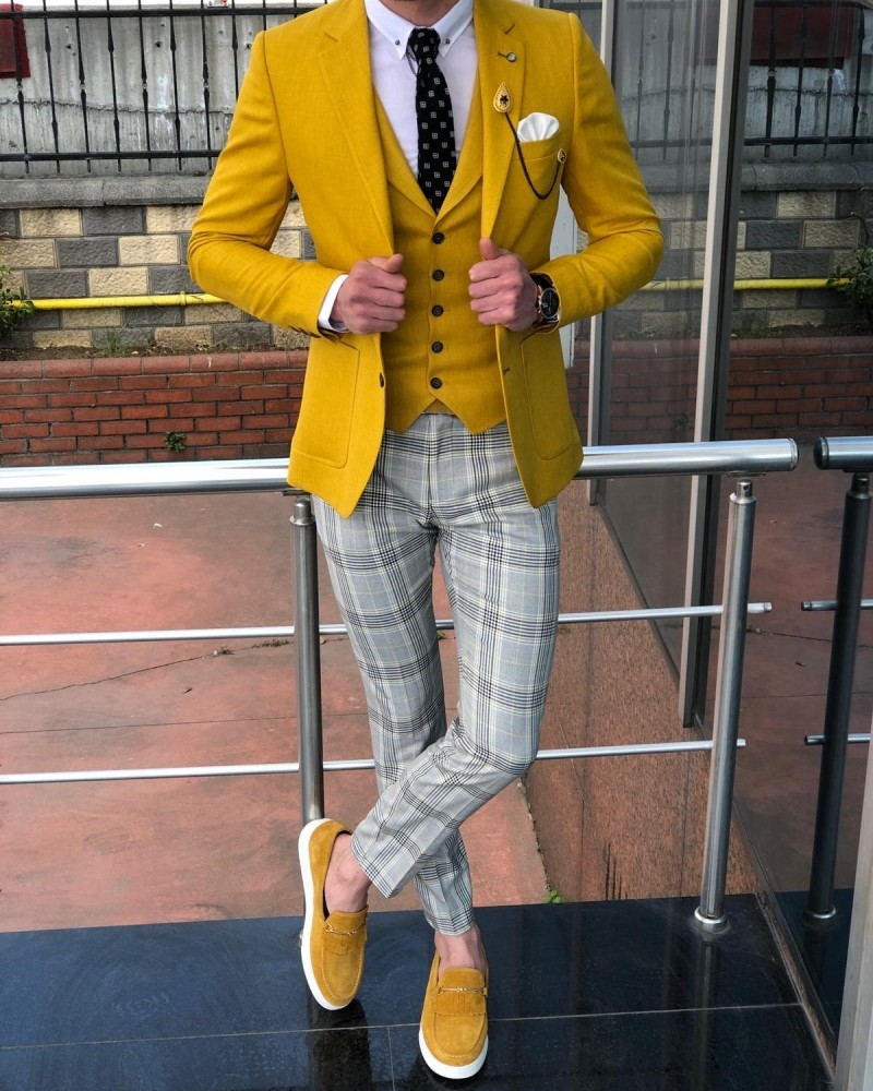 Yellow Slim Fit Suit by GentWith.com with Free Shipping