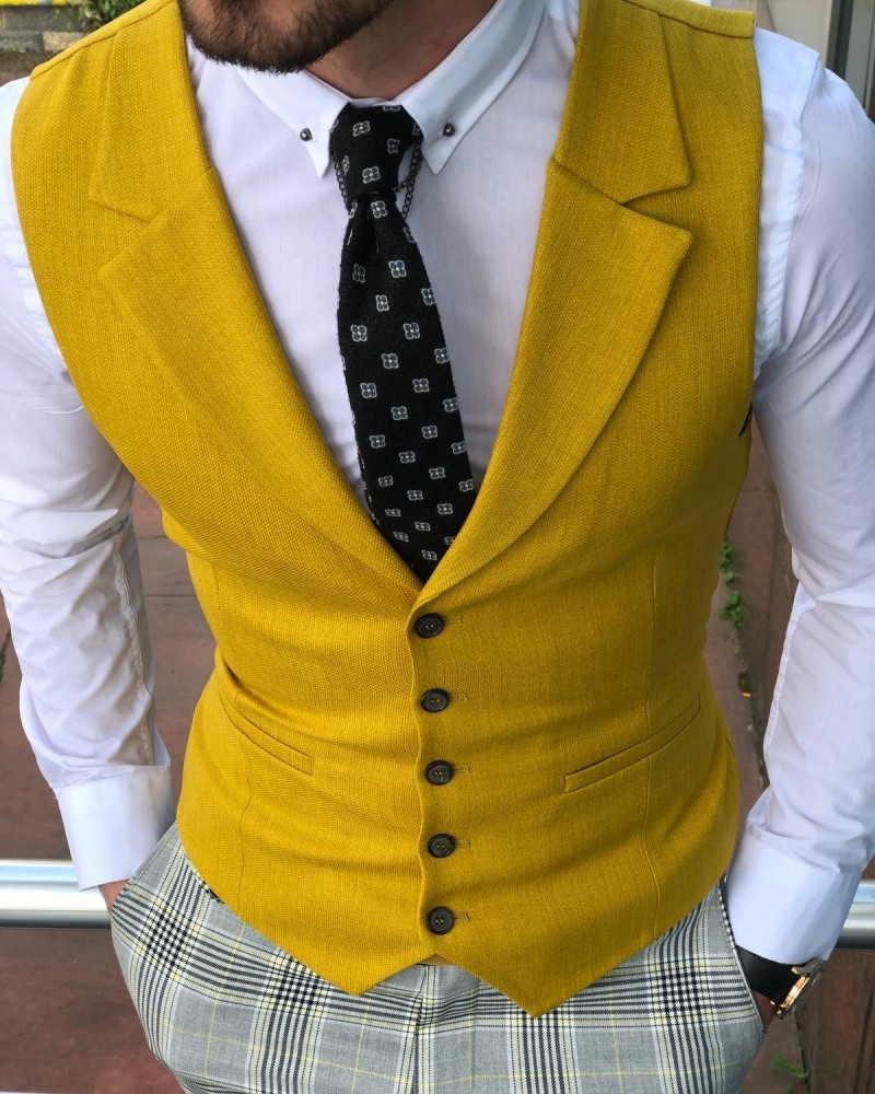 Yellow Slim Fit Vest by Gentwith.com with Free Shipping