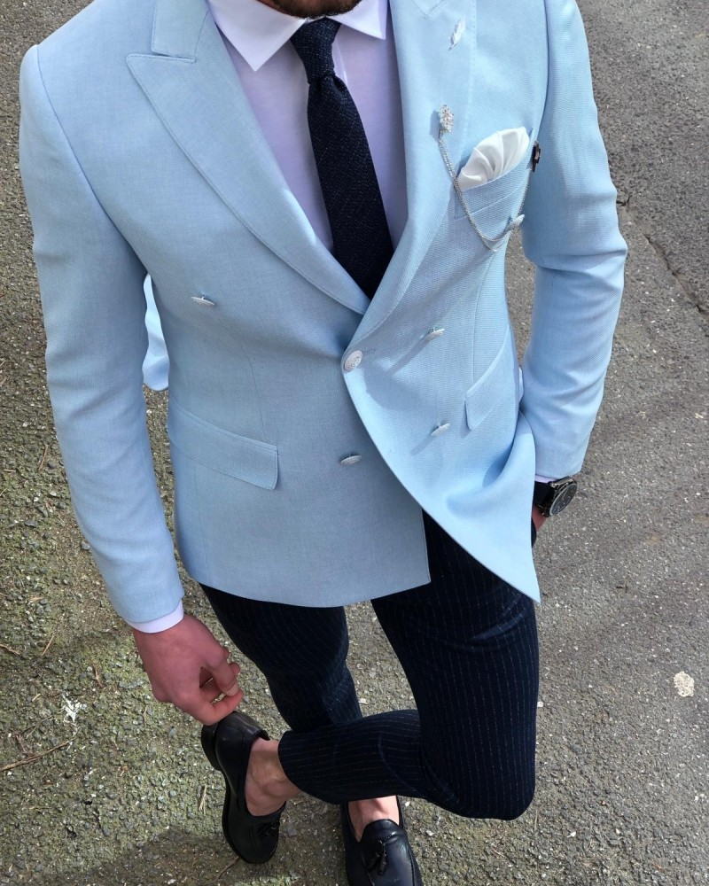 Blue Slim Fit Double Breasted Blazer by Gentwith.com with Free Shipping