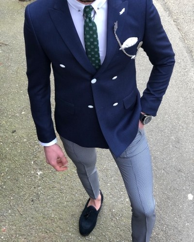 Navy Blue Slim Fit Double Breasted Blazer by Gentwith.com with Free Shipping