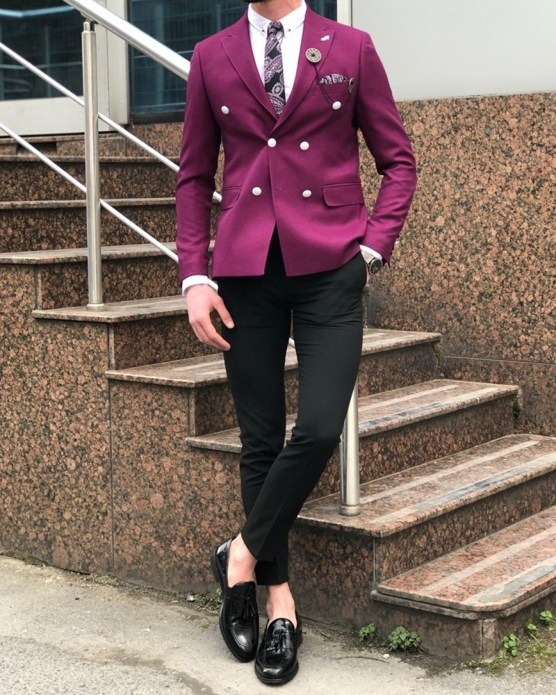 Purple Slim Fit Double Breasted Blazer by Gentwith.com with Free Shipping