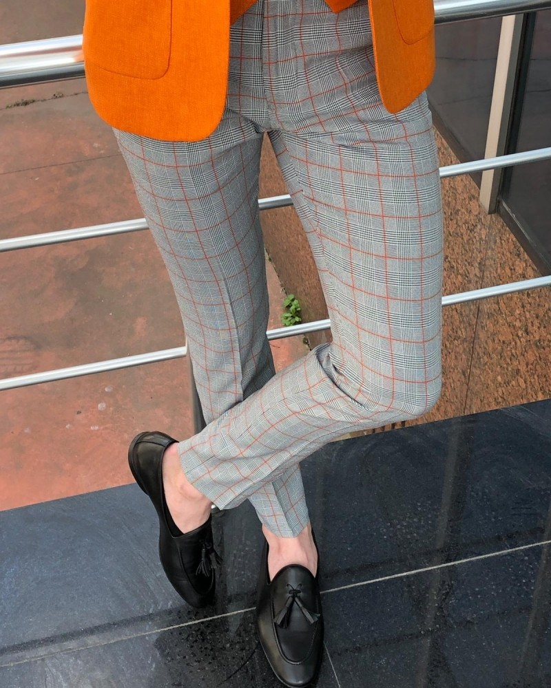Stone Plaid Cotton Pants by Gentwith.com with Free Shipping