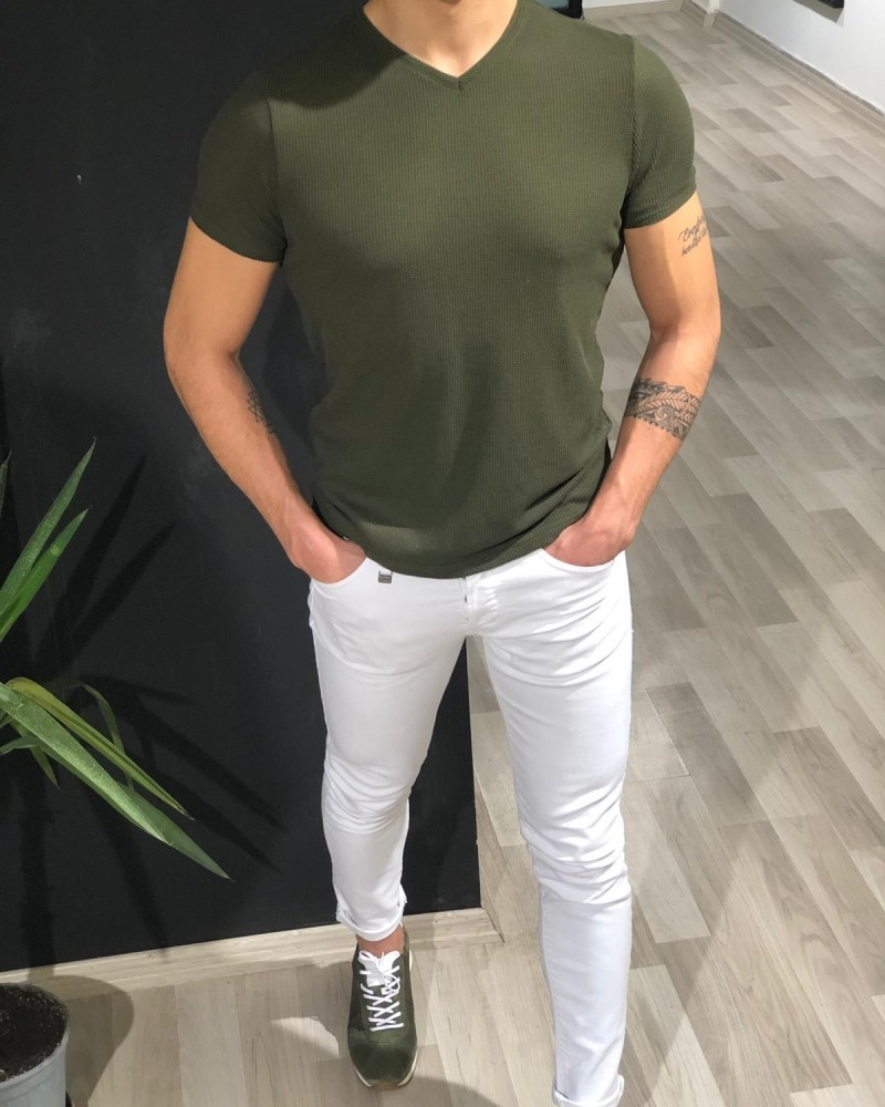 Khaki Slim Fit Jacquard Tshirt by Gentwith.com with Free Shipping