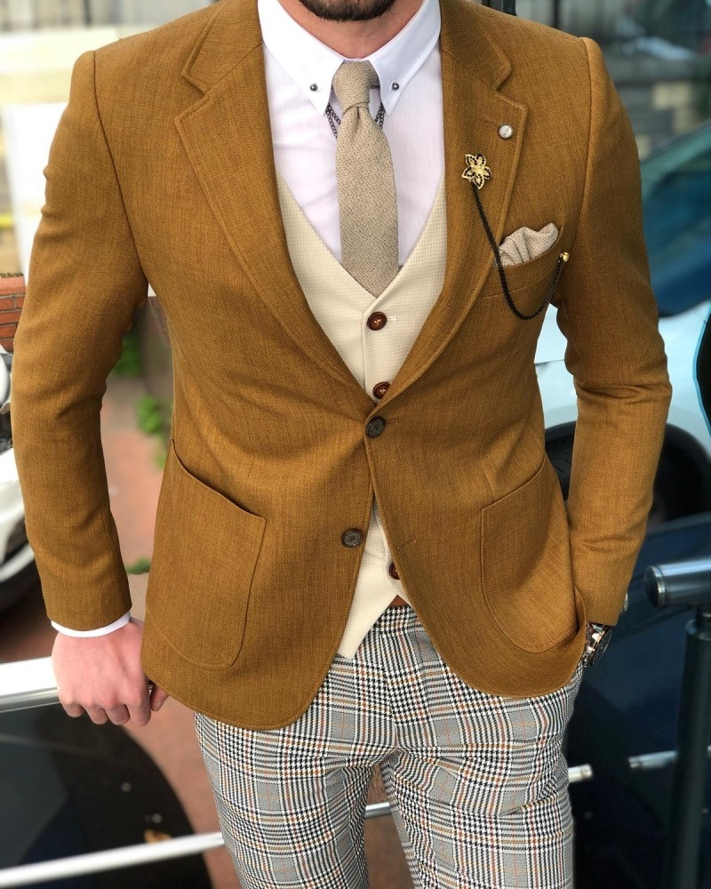 Camel Slim Fit Cotton Suit by GentWith.com with Free Shipping