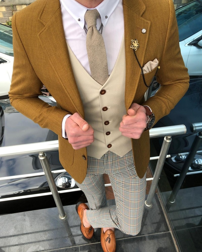 Camel Cotton Suit by GentWith.com with Free Shipping