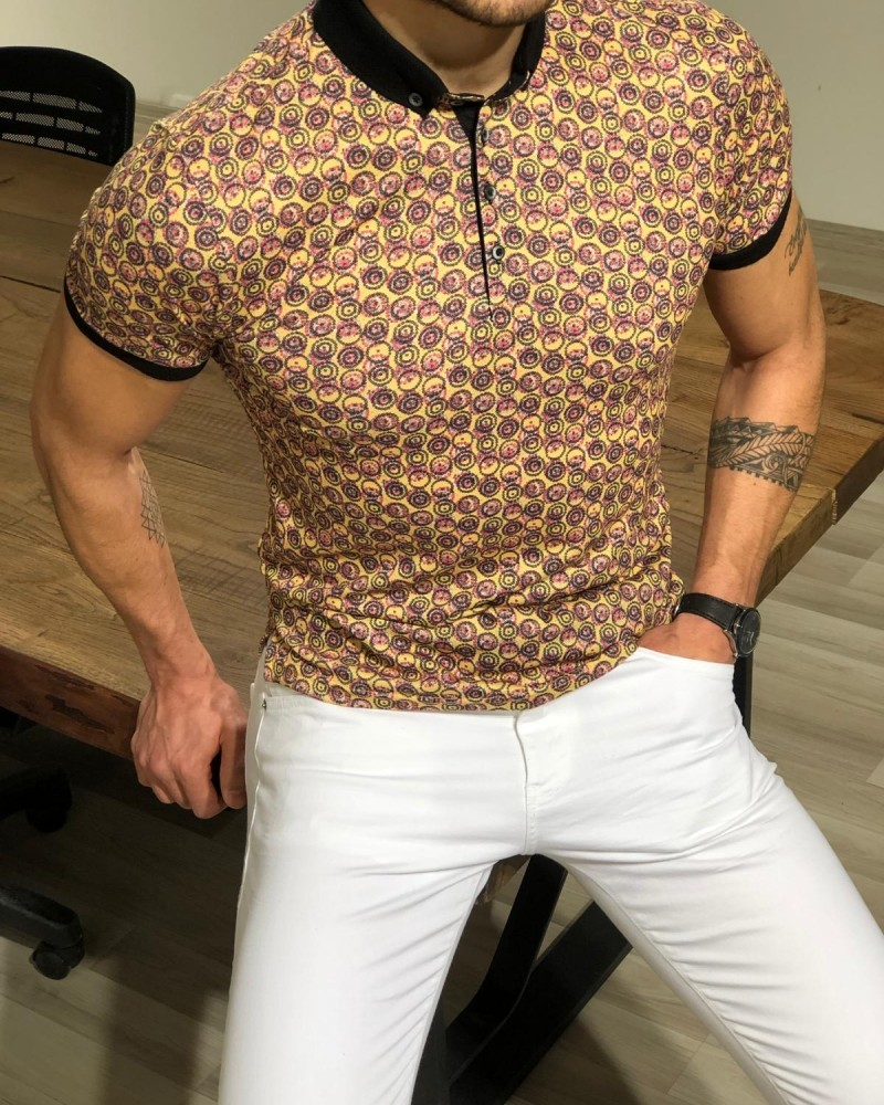 Yellow Slim Fit Collar T-shirt by Gentwith.com with Free Shipping